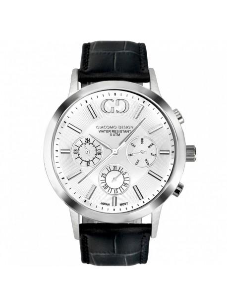 Giacomo Design klocka Leggibile vit/svart läder