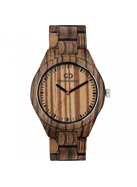 Giacomo Design trä klocka Chiusa Belezza av svart sandelträ/zebraträ