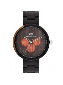 Giacomo Design trä klocka Chiusa calendario esteso av naturträ röd svart sandel art